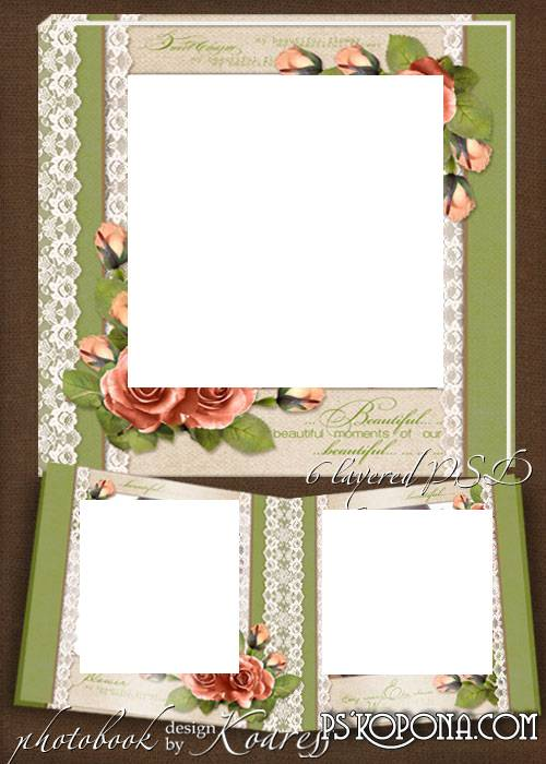 Romantic photobook template psd - Charming roses on a delicate lace