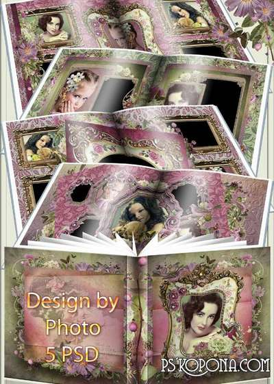 Photobook template psd - My love vintage style