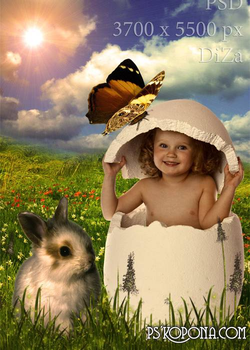 Soon Easter children's template for photomontage