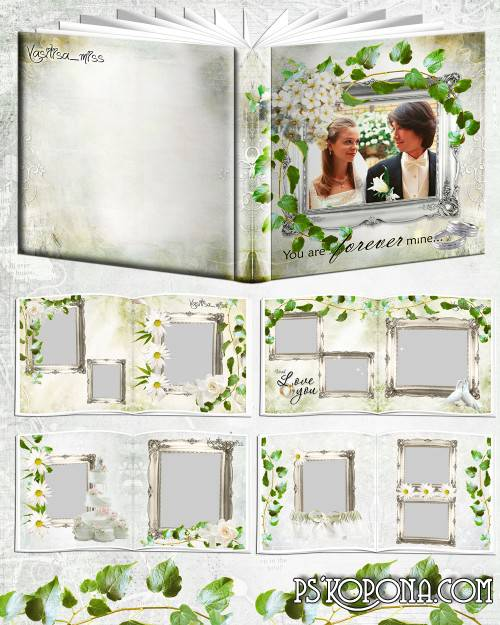 Wedding photobook template psd - Daisies, roses and love