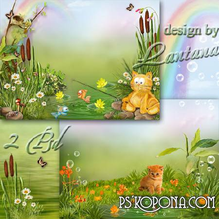 Children's Summer PSD Templates - Red cat loves fish, the river sits all day