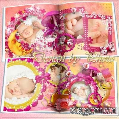 Baby photobook template psd - Goodnight girl