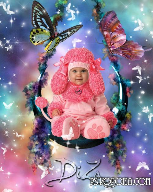 Template for kids Pink poodle free download