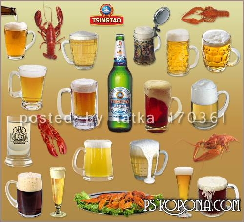 Clipart for Photoshop - Beer in mugs and crayfish
