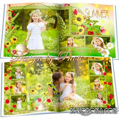 Universal photobook template psd - Bright summer