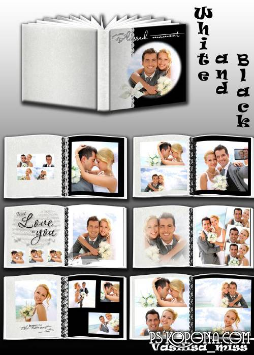 Wedding photobook template psd in black - white