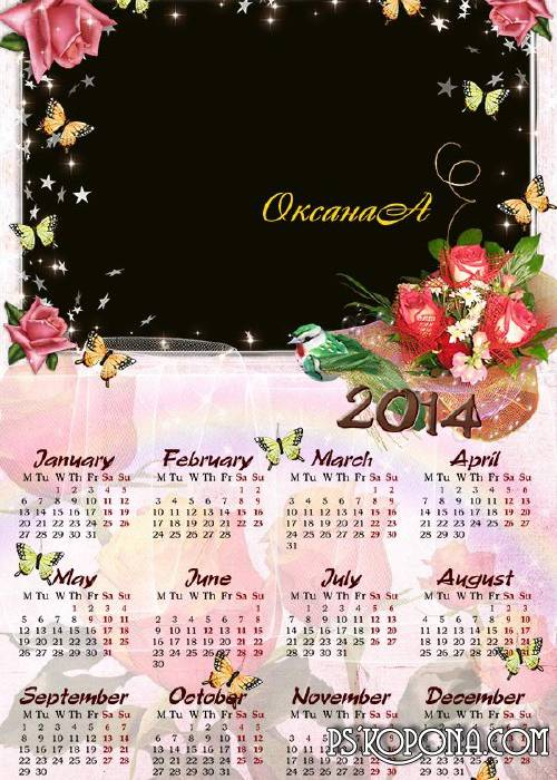 Calendar for 2013 and 2014 - Parhanie butterflies