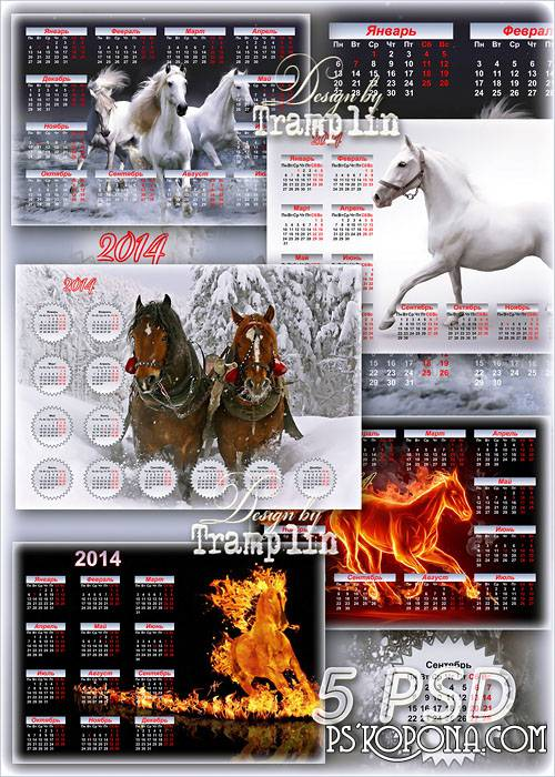 Collection of wall multilayered calendars for 2014 with horses