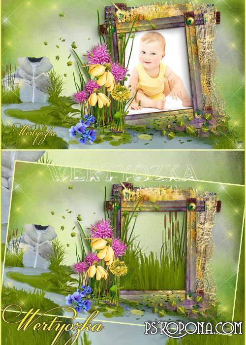 Children frame for Photoshop with flowers and brook