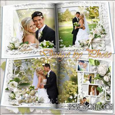Wedding photo book template psd - we Wish you happiness