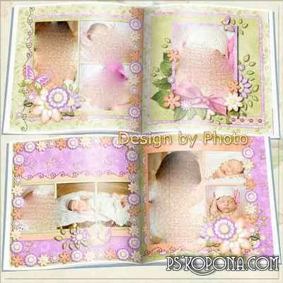 Photo book template psd for the newborn girl - Girl
