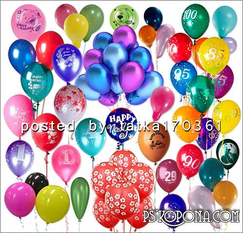 Clipart for Photoshop - Balloons of various colors and shapes