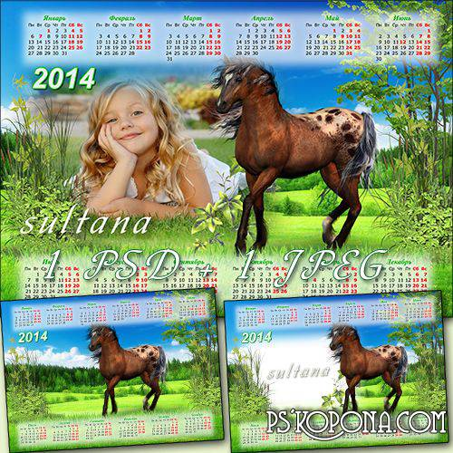 Calendar for 2014 - Beautiful horse on the meadow flying