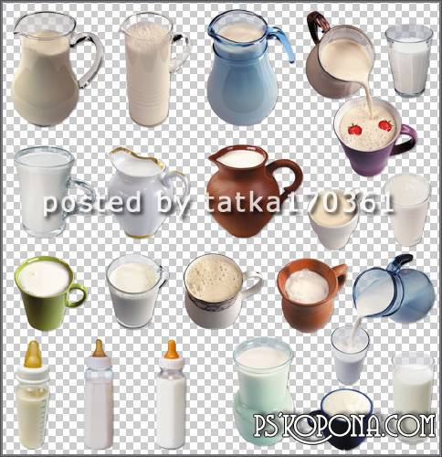 Clipart for Photoshop - Milk drinks and milk in a different container