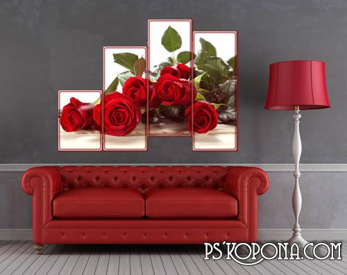 Polyptych, the PSD file for photoshop - Beautiful roses