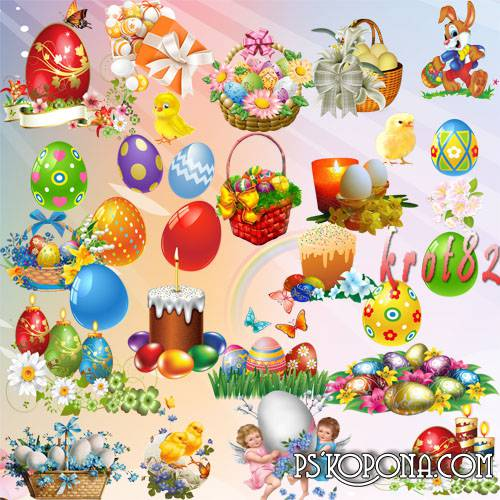 Graphics Easter - Eggs, Easter, flowers, rabbits and chickens