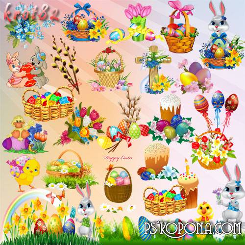 Easter Graphics on a transparent background - Eggs, hares, willow, flowers and Easter