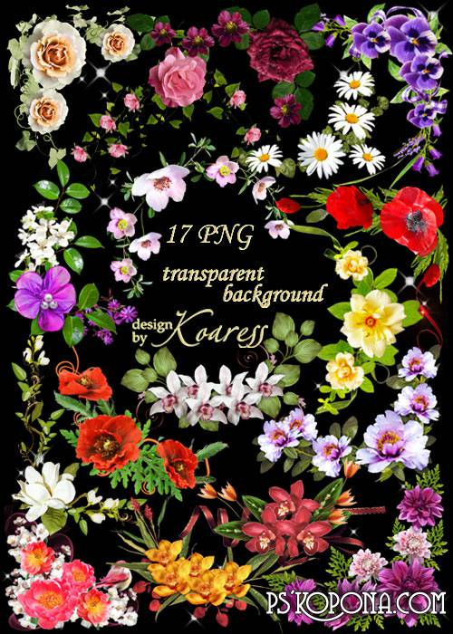 Set of floral corners for Photoshop in png format on a transparent background - Spring, flowers, happiness