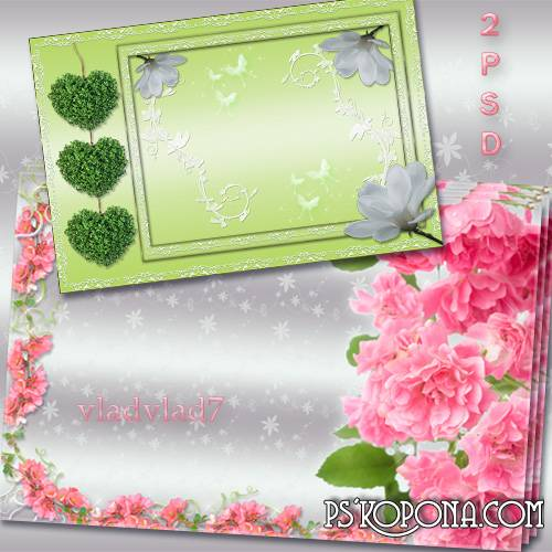 Floral frame for Photoshop - Roses and green hearts, white flowers