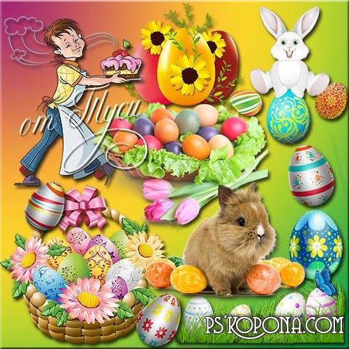 Clipart Easter - White tablecloth, candle and aroma of cake