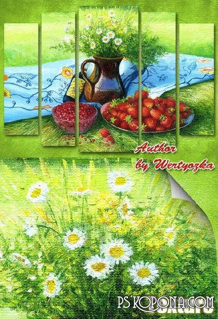 Modular polyptych painting - still life, picnic, daisies, strawberries
