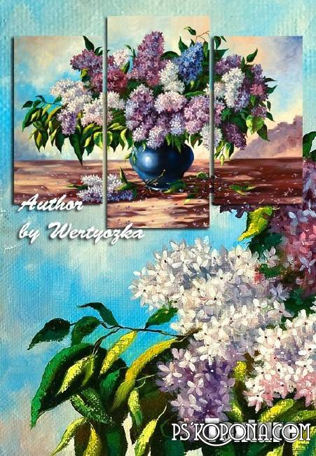 Modular painting triptych - Lilac, flowers in a vase