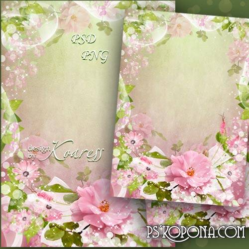 Framework for Photoshop with pink flowers - Spring in gentle colors