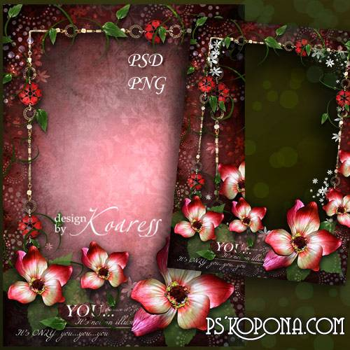 Romantic photo frame for Photoshop - Silk tenderness of petals