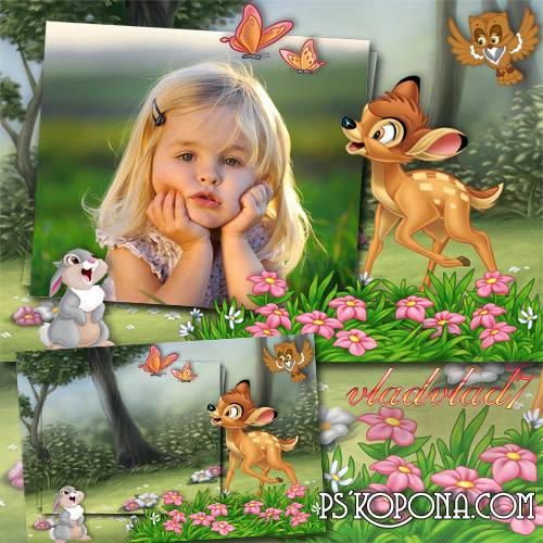 Children's Frame for Photoshop - Bambi and Thumper