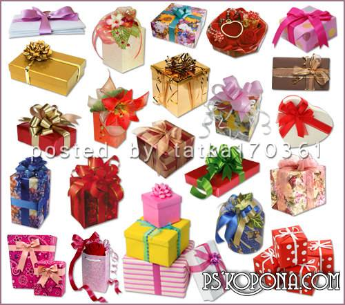 Clipart for Photoshop - Gift boxes with bows