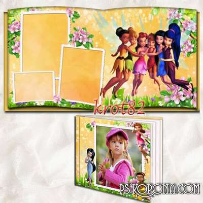 Photobook template psd for girls - Little fairies