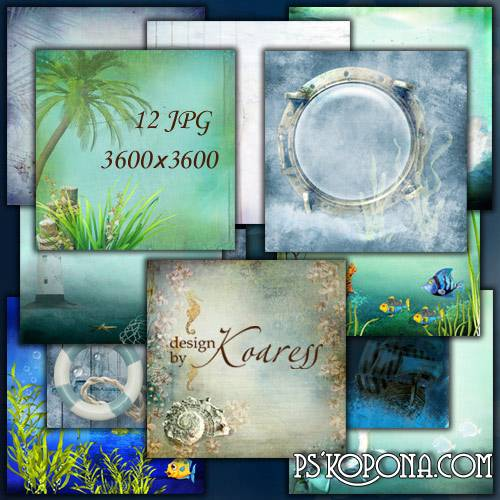 Set of variouse marine backgrounds for design - Fish, seaweed, seagulls, palm trees