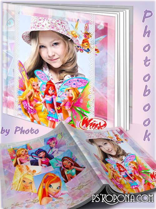 Baby photo book template psd for girls with heroines m/s Winx