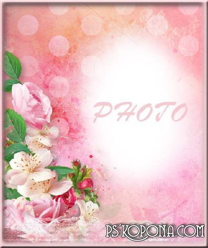 Female photoframe - Pink roses for darling
