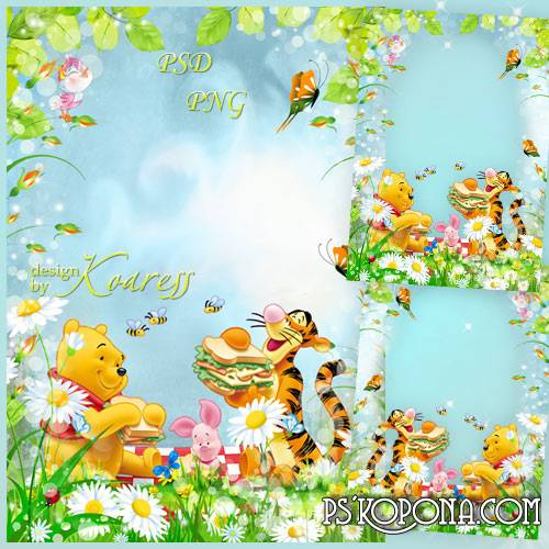 Childrens photo frame with Winnie the Pooh - Сheerful picnic with funny friends