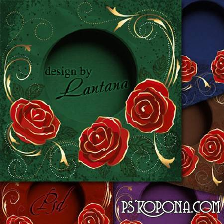 PSD source - Greeting card with roses