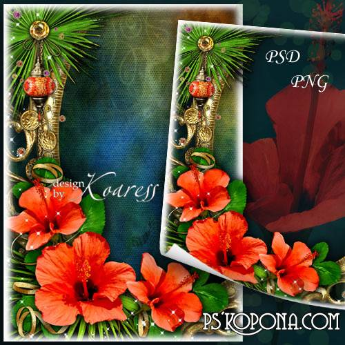 Photo frame with red flowers - Tropical flower