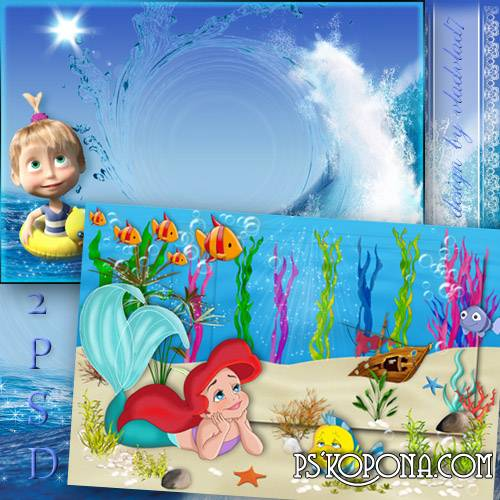 Marine photo frames for girls - Mermaid Ariel and Masha