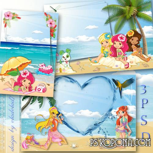 Marine frame for Photoshop - Strawberry Shortcake and Winx Club