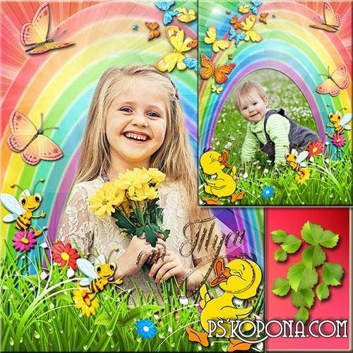 Children frame and collage - Nature congratulates us magically bright day