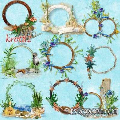 Maritime clusters-frame on a transparent background - Frames, sand, fish, shells