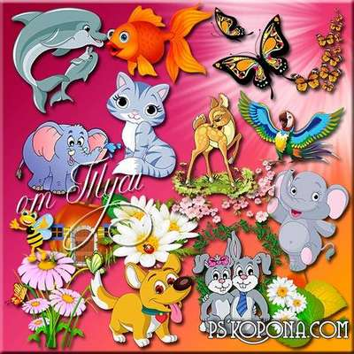Children Toys clipart PSD - Animals funny and very nice
