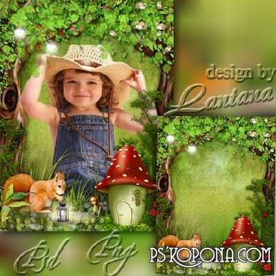Children Psd source with cut-out pictures - Forest Tale