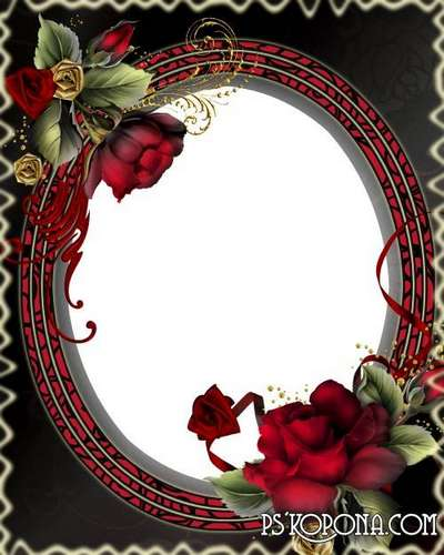 Women's frame with burgundy roses for an elegant design photo