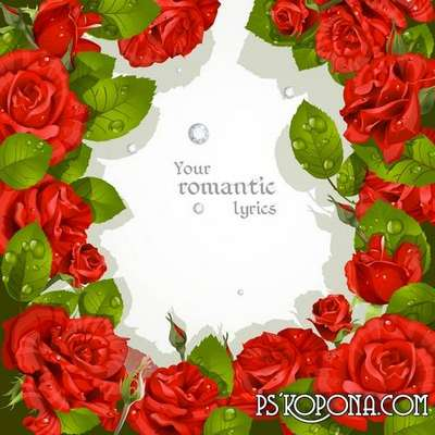 Romantic frame - Red rose as a bright scherzo