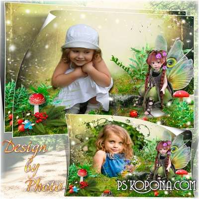 Children frame-collage - Forest nymph