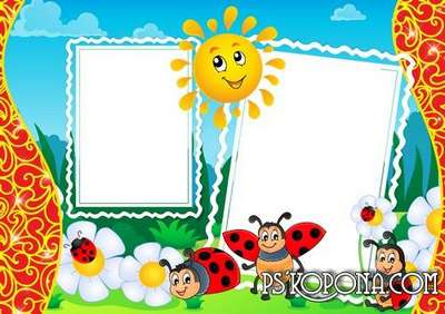 Baby frame with the sun,ladybirds - Colors of summer