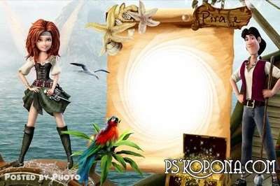 Baby frame - Fairies puzzle pirate island