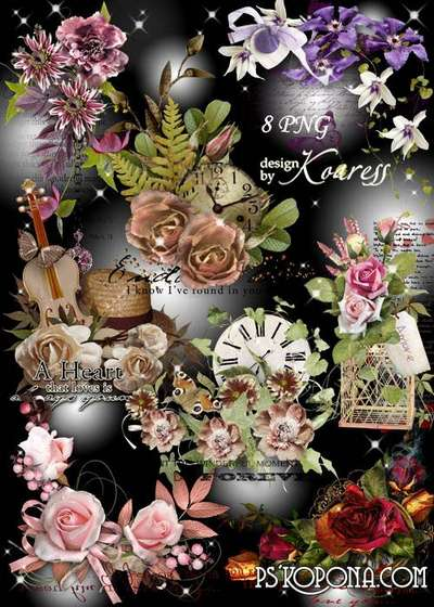 Set of romantic png clusters flowers png for Photoshop on a transparent background - Words of love png