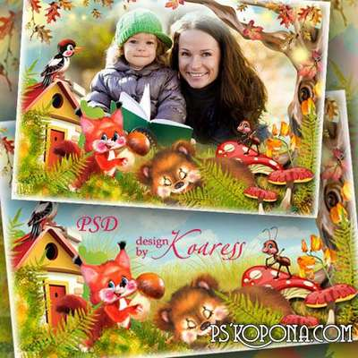 Childrens photo frame - Autumn forest fairy tale
